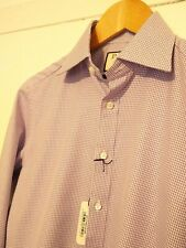"BNWT THOMAS PINK ""Davenport"" Houndstooth Shirt. 14"" Collar Slim Fit. Lilac/White"