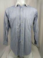 Brooks Brothers Mens Shirt 16 - 3 long Sleeve Button StripedBlue White Collar