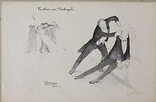 Lithographie signée, Domergue, Portugal, Guerre, WW1, Lithography, Boxe, 1915