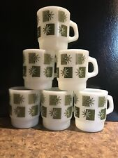 Set Of 6 Fire-King Anchor Hocking Coffee Mugs Made In USA Green Star Square
