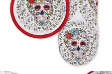 "New listing Fiesta Skull & Vine Oven Mitt & Pot Holder, 6.5""x13"" 8""x8"", Multi"
