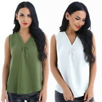 Plus S-3XL Women V-Neck Sleeveless Chiffon Tank Top T-shirt Vest Blouse Crop Top