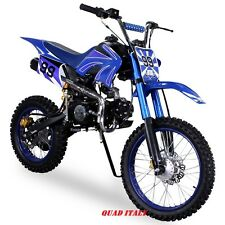 "PIT BIKE CROSS 125cc BLU RUOTE 17""14"" 4 MARCE MINI MOTO MINICROSS QUAD PITBIKE"