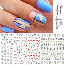 3D Nail Sticker Flower and coconut tree Nail Decals Summer DIY Nail Art Decor