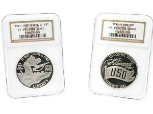 LOT OF TWO 1991-1995 NGC PF 69 UC SILVER $1 WW2 & USO COMMEMORATIVES #CB71-9