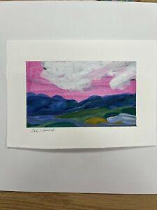 "6"" x 4.5"" mini painting, blue ridge mountains painting, gallery wall art"