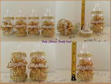 Baby Shower Favors 12 Gold Fillable Bottles Prizes or Games Girl Decorations