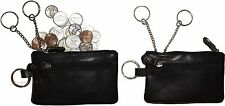 Leather change purse, Zip coin wallet, 2 pocket coin case w/ key rings Lot of 2,