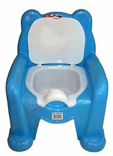 New Blue Easy Clean Kids Toddler Bear Potty Training Chair Seat Removable Lid
