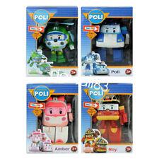 4pcs Robocar POLI ROY AMBER HELLY Transformers Robot Car Figure Kids Gift Toy