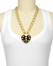 JUICY COUTURE Large Heart Padlock Necklace CZ Accents NEW w/ tags Retail $148.