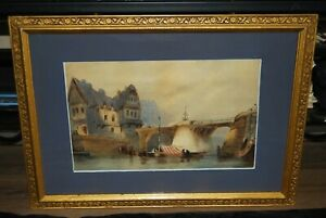 """19th/C  Continental Watercolour """"River Scene at Dusk"""" After Paul Marny"""