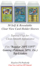 50 Perfect Fit Sleeves for Gaming Regular 20-55PT Card Top-Loaders Clear View