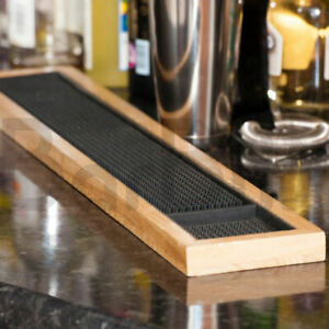 BarBits Rubber Bar Mat With Wooden Frame 24 inch - Glass Beer Drip Tray Runner