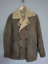 Sheepskin Shearling Coat Jacket Mens Womens Mushroom Colour Vintage S / M