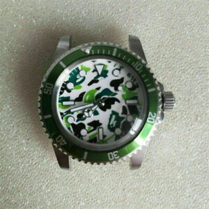 For Watch NH35 Movement Metal Watch Bezel Case with Camouflage Luminous Dial