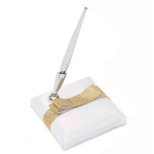 Gartner Studios Wedding Collection Pen White Satin Holder Gold Glitter Bow