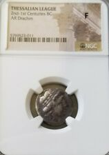 Thessalian League Apollo 2nd-1st Cent. BC Drachm NGC Fine Ancient Silver Coin