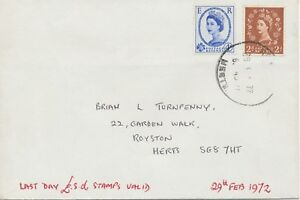 GB 1972 Wilding 2D and 4D on superb Last Day Cover (Last Day the £.s.d.)