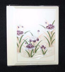 Vintage Pearl White Purple Iris PHOTO ALBUM 3.5x 5.5  slots  Hold 48 Pictures