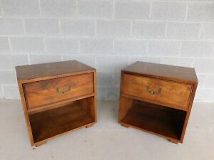 Henredon Artefacts Collection Campaign Style Nightstands - a Pair