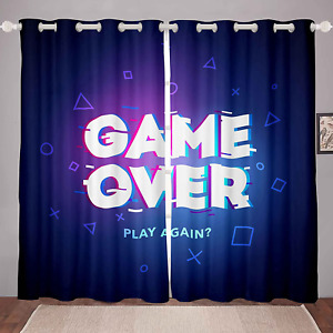 Loussiesd Gamer Curtain for Bedroom Boys Computer Game Room Curtain for Kids