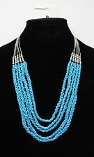 New Silver Tone Necklace with Multi Turquoise Colored Bead Strands NWT #N0054