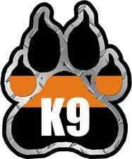 "3"" SAR K-9 Paw Decal Search Rescue Dog Unit Thin Orange Line Vinyl Sticker"