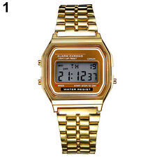 Elegant Men Women Retro Stainless Steel LCD Digital Sports Stopwatch Wrist Watch