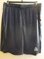 Reebok Men's Navy Heather, Sport Athletic Active Training Shorts, Slim Fit, New