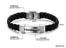 Men's Bracelet Black Leather Shining Crystal Drill