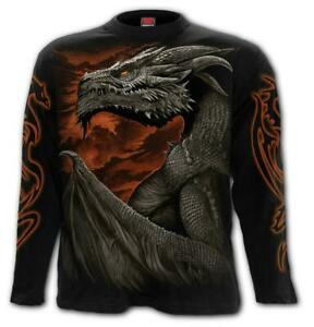 Spiral Direct MAJESTIC DRACO Long sleeve T-Shirt Death/Flames/Dragon/Skull/Wings