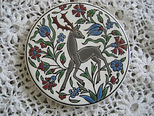 Tile Art Coaster By Neofitou Keramik Deer and Flowers Vintage