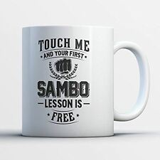 Sambo Coffee Mug - First Sambo Lesson Is Free - Funny 11 oz White Ceramic Tea Cu