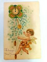 Vintage Postcard A Happy New Year Holiday Clock with Angel Posted 1907