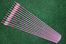 12Pcs 28'' Fiberglass Arrows Pink Arrows Hunting Practice Archery Recurve Bow