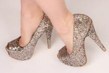 Multi coloured glitter platform heels Prom Wedding Races Party heels