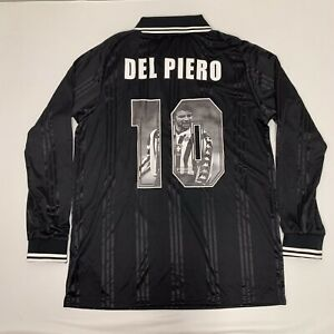 NWT Men's Adidas Juventus DEL PIERO #10 Icons Long Sleeve Sz M Black Jersey