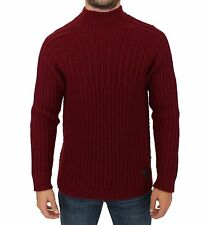 NWT $480 COSTUME NATIONAL C'N'C Bordeaux Knitted Wool Sweater Pullover IT48 / M