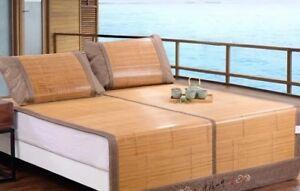Best 5A Bamboo bed Mat +2 Pillow Case both size sheet rug floor cool 双面折叠竹凉席加两枕套