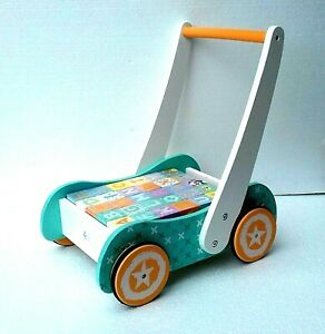 Wooden Baby Walker Pastel colours with blocks -push along trolly- 123 and ABC