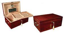 The Monte Carlo Cherry 120 Cigar Humidor Case w Humidifier / Hygrometer