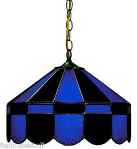"""BLACK & BLUE 16"""" STAINED GLASS HANGING PUB LIGHT FIXTURE BAR TABLE GAME LAMP NEW"""