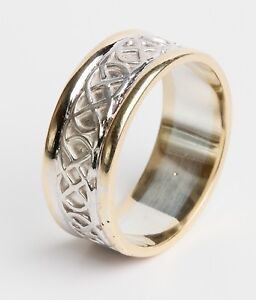 14k Gold Irish Hand Crafted Irish Celtic Knot Wedding Band Ring 8mm wide