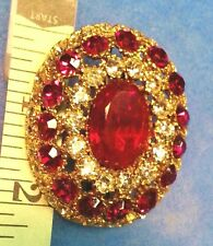 Scarf Clip Gold Red Gift Vintage Estate Jewelry Crystal Pin Pendant