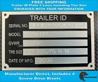 Trailer ID Tag (ENGRAVED) Serial Number Plate VIN 5 Lines Including Tire Size