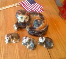 vintage chalkware Calico cat Mother And Kittens