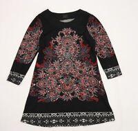 Frock Me Womens Black Floral Knit Jumper Dress  Size 16