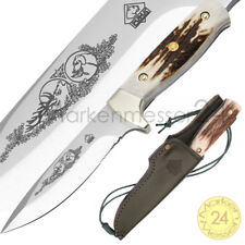 Puma Jagdmesser mit Klingenätzung grüne Lederscheide Gürtelmesser Jagd Nicker