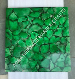 """24"""" Green Marble Agate Stone Coffee Side Table Top Kitchen Bedroom Decor E1148"""